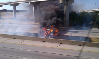 Car on fire on I-20