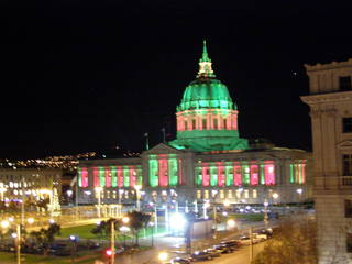 San Francisco City Hall at night.