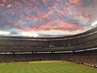 Rangers game! Amazing sunset