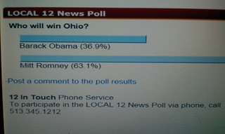 PRESIDENT POLL LOCAL 12 NEWS 10/26/12 @11pm, CINCINNATI, OHIO