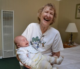 Great Grandma meets her first great grandson for the first time.