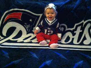 Olivia in her Patriots gear!