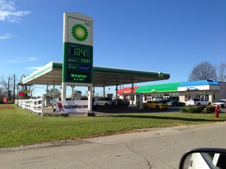 Gas $1.84 per gallon on 11/1/12