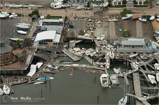 Overturned boats and yachts on Staten Island