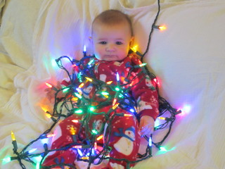 Our 1st grandson decorates for Christmas