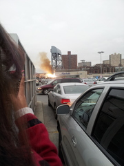 The bridge on 230th and Broadway on fire
