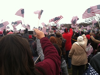 Cheering after Obama was inaugurated