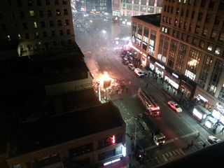 Fire in herald square from garbage truck!